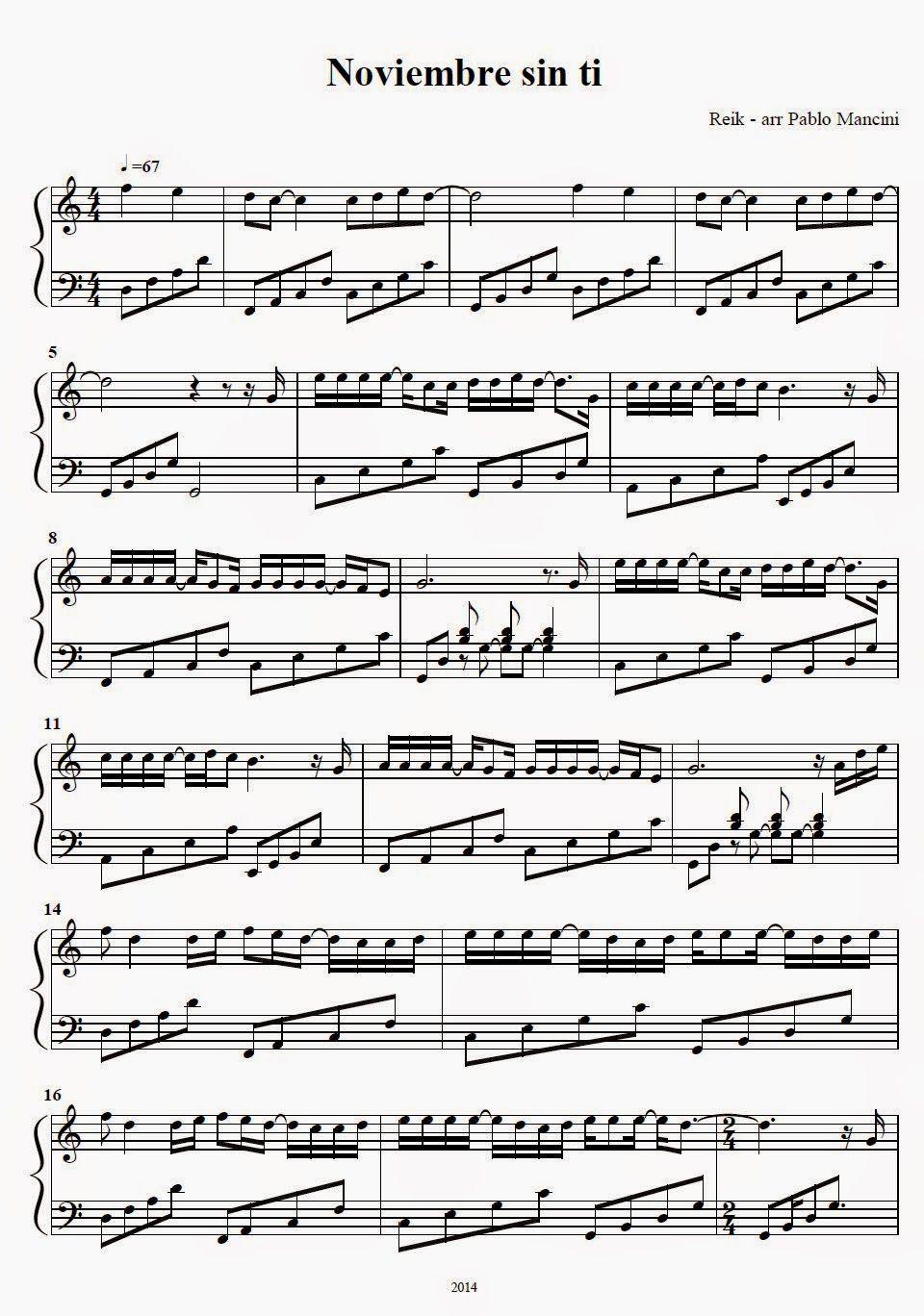 Noviembre Sin Ti Reik Con Imagenes Partituras Musica De