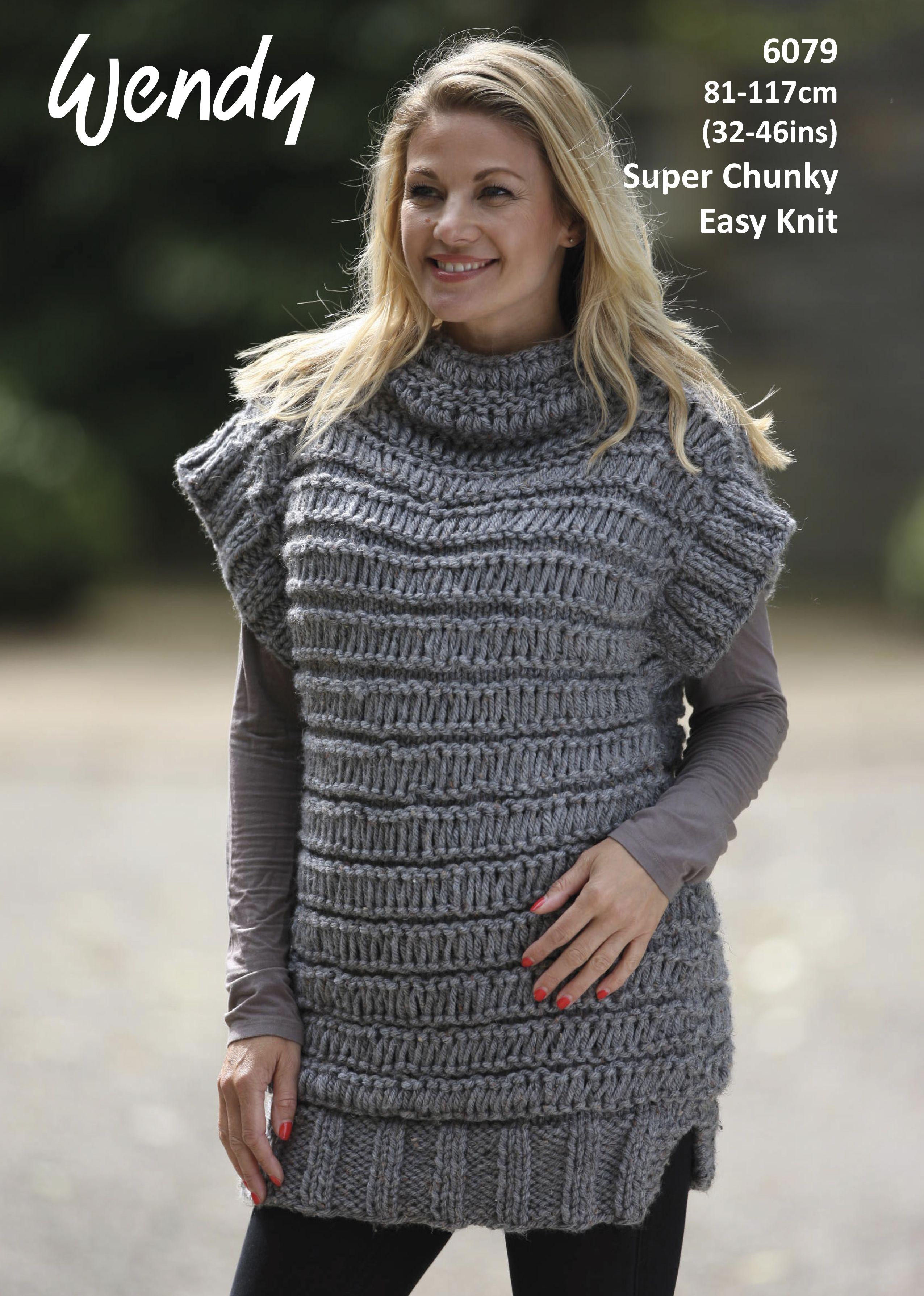 bd3e11c223bf Easy Knit Sleeveless Jumper in Wendy Harris Super Chunky - Leaflet ...
