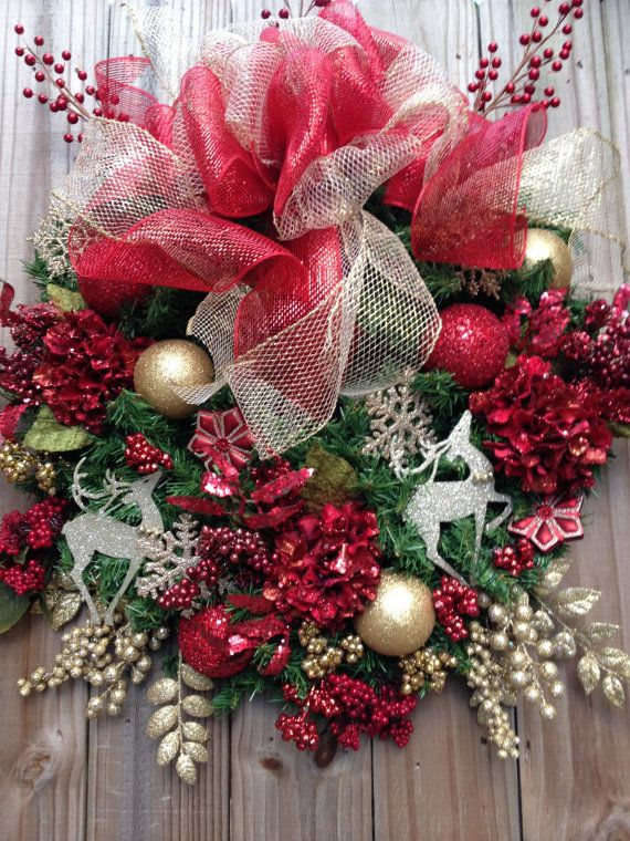 Traditional Red and Gold Christmas Wreath by DreamCharmDesigns - christmas decorations sale