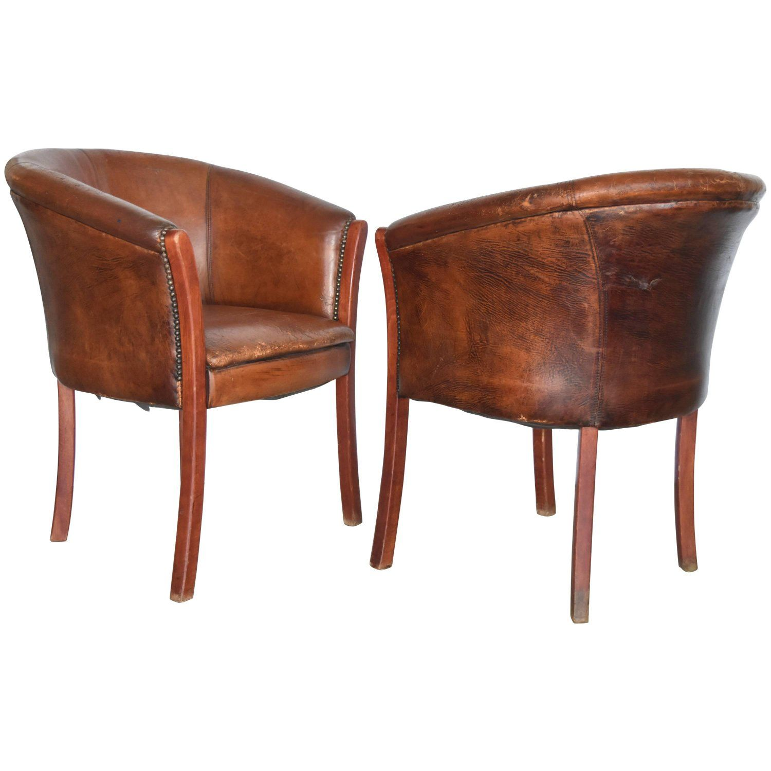Best Vintage French Or Belgian Wood Cognac Leather Club Chairs 400 x 300