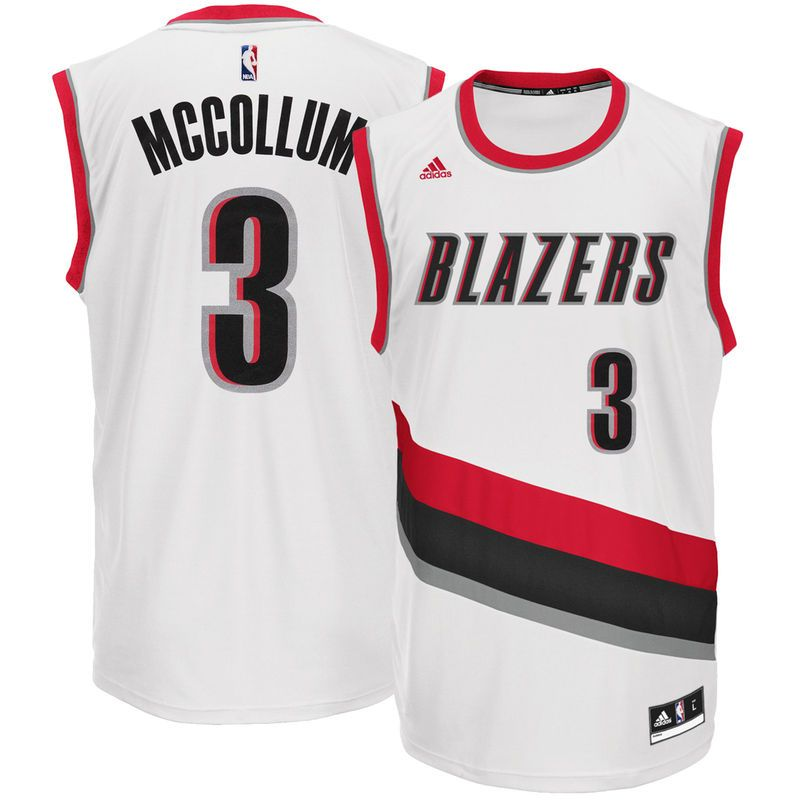 detailed look 13644 21923 C.J. McCollum Portland Trail Blazers adidas Home Replica Jersey - White
