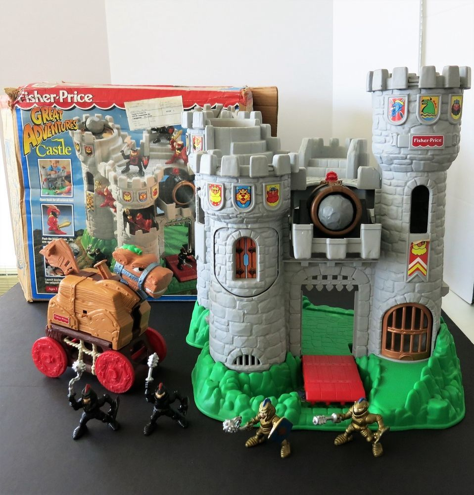Vintage 1994 Fisher Price Great Adventures Castle Knights Trojan Dragon Orig Box Fisherprice Fisher Price Toys Greatest Adventure Fisher