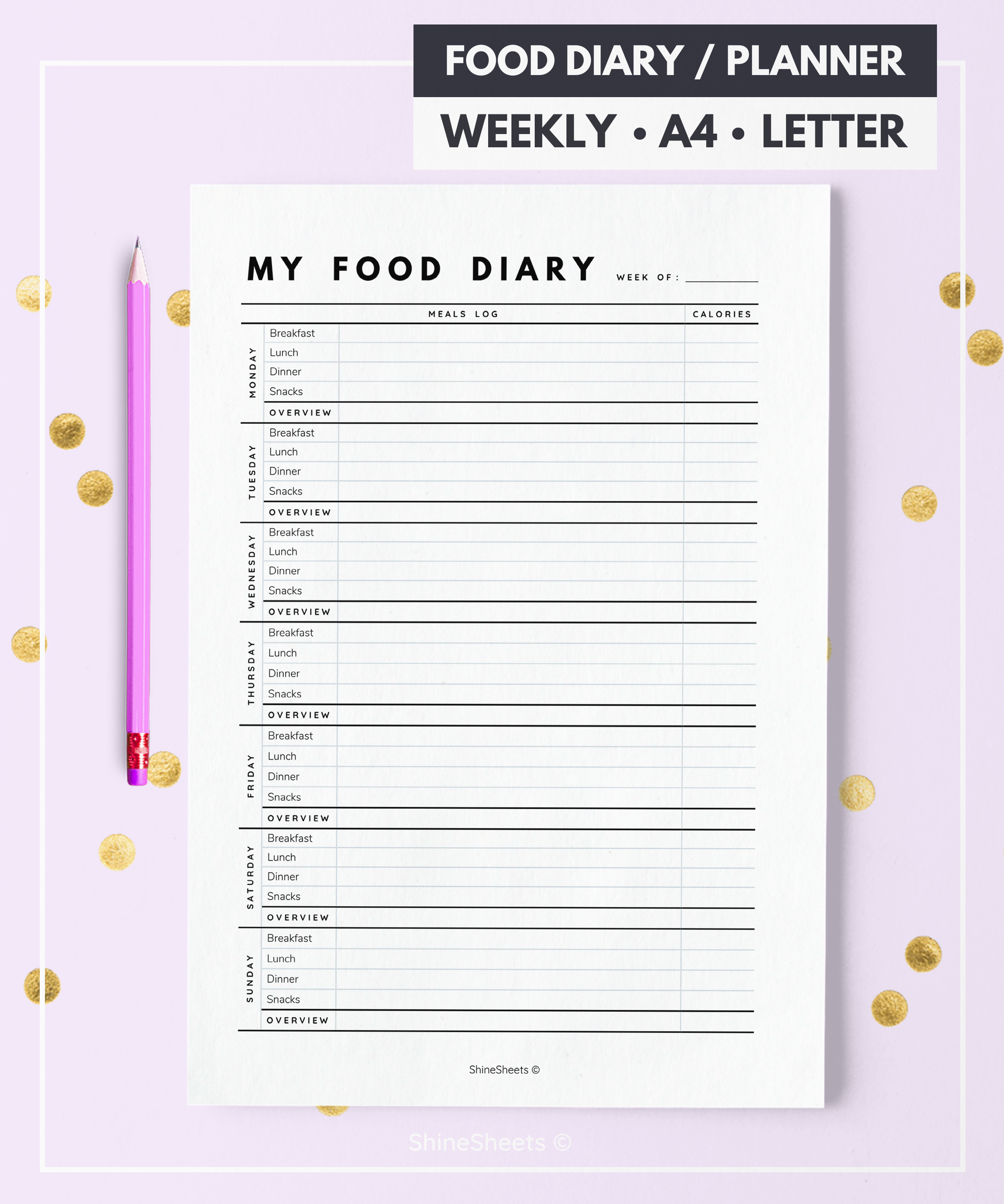 food diary food tracker diet diary food journal food log