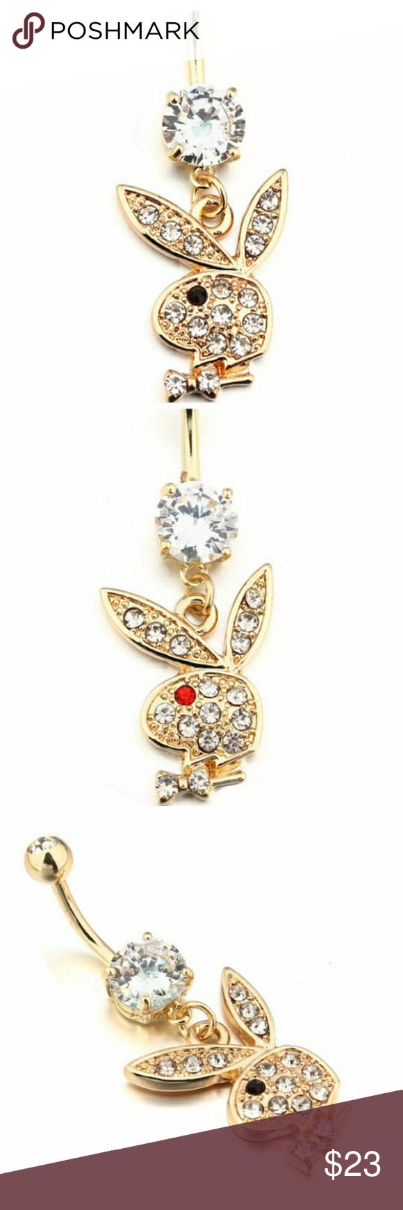🆕playboy bunny gold dangle belly ring   Playboy bunny, Dangle ...