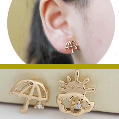 Umbrella and Sun Asymmetrical Ear Clip-Ons   LilyFair Jewelry, $11.99!