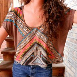 aztec and tribal print trends tee shirt