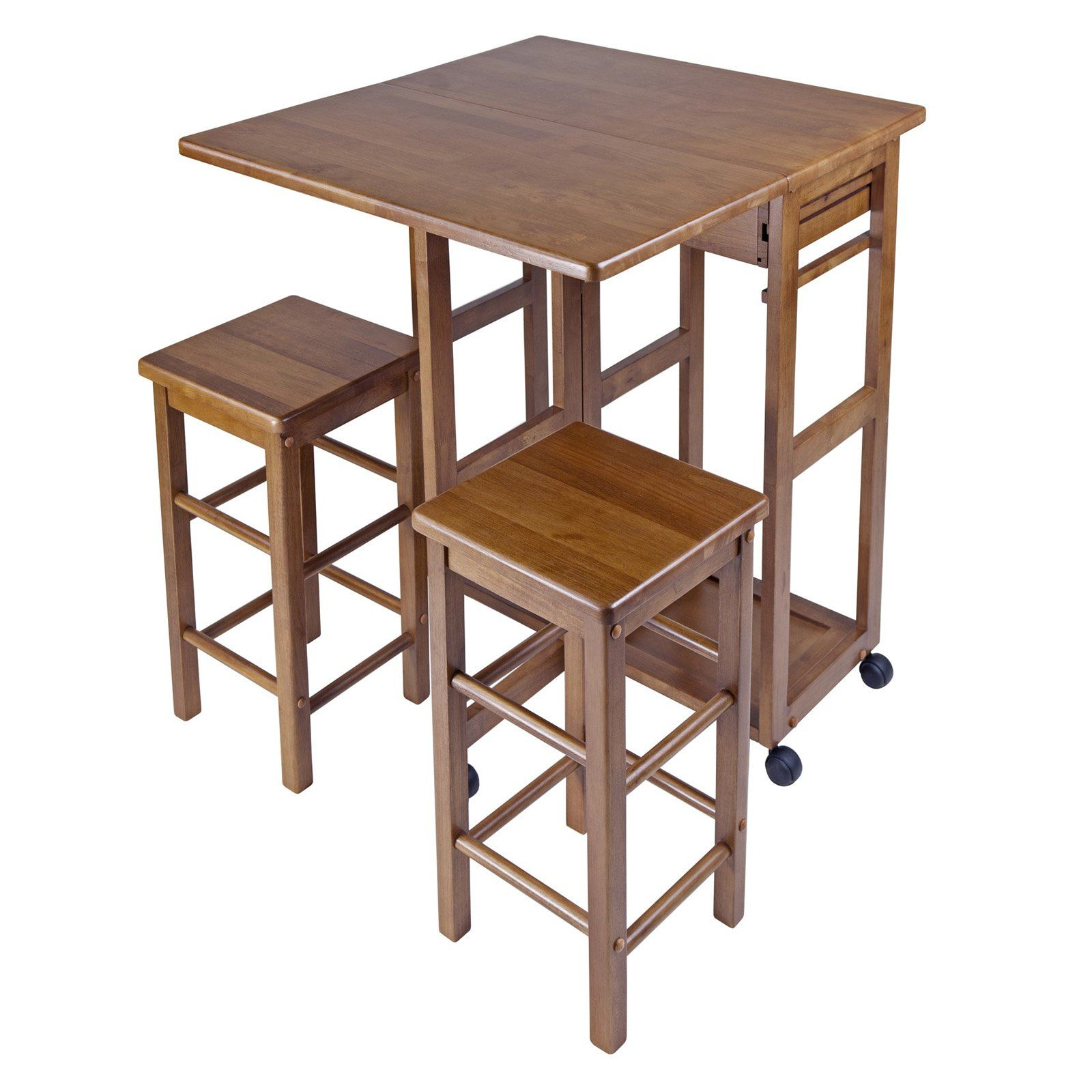 Winsome E Saver 3 Piece Small Table With 2 Nesting Stools Dining Sets At Hayneedle