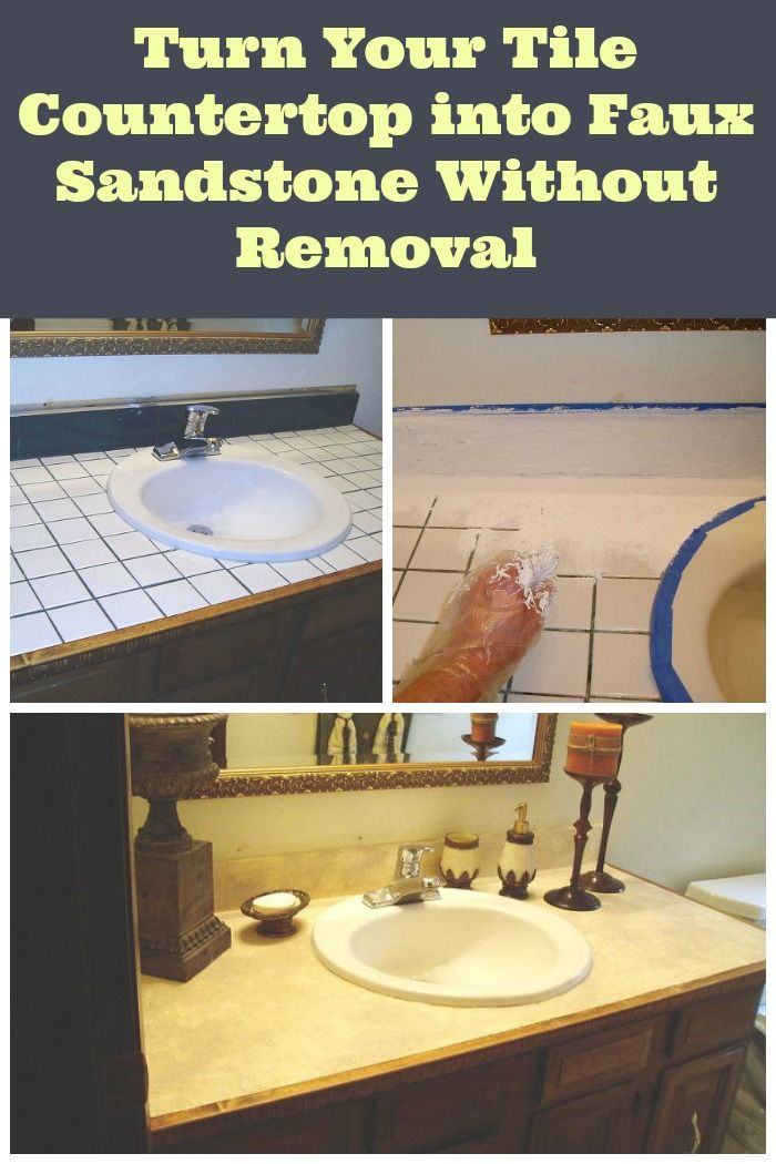 Remodel Bathroom Without Removing Tile how to turn a tiled counter top into sophisticated sandstone