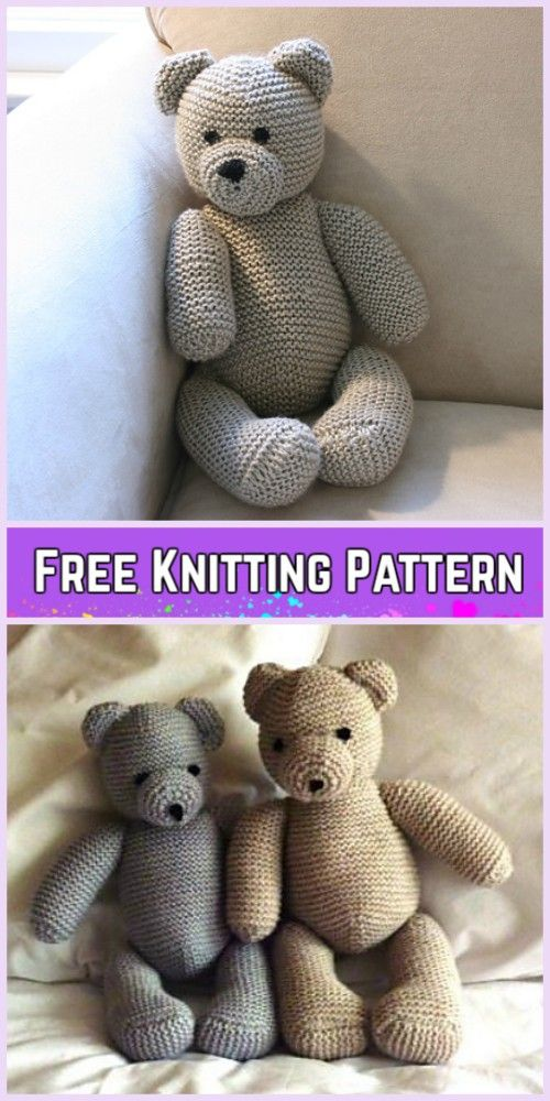 Knit Teddy Bear Plush Toy Free Knitting Patterns #crochetteddybearpattern