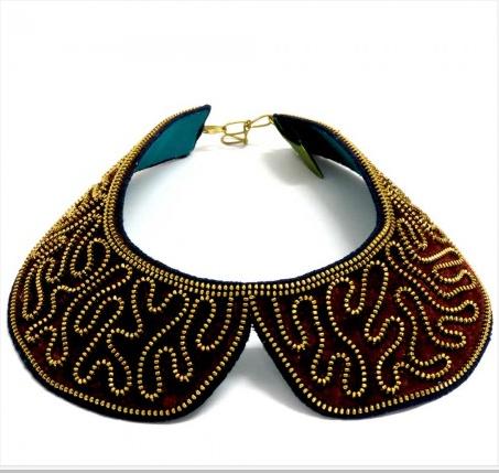 Bayou Peter Pan Collar Necklace - Maroon