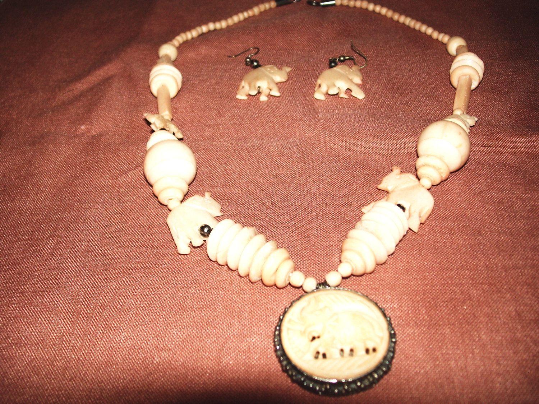 African Carved Bone Lucky Elephant Necklace And Earrings Lucky Elephant Necklace Elephant Necklace Lucky Elephant