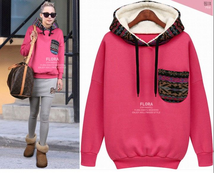 CW45076 Thick fleece mixed colors retro hoodie for women