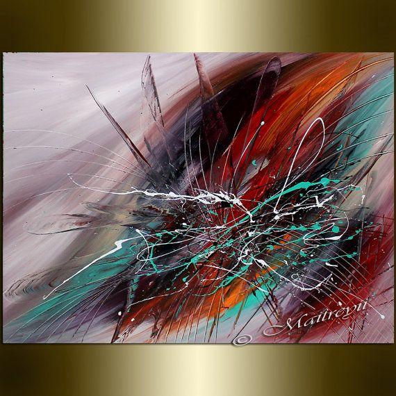 Toile de peinture l 39 huile rouge grandes peintures for Toile abstraite