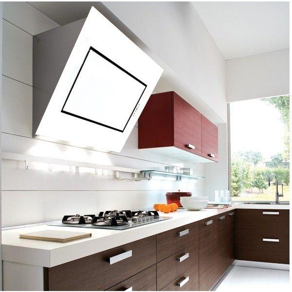 Eine Falmec Quasar Wandhaube in weiß oder schwarz Kopffreiheit - küchen wanduhren design