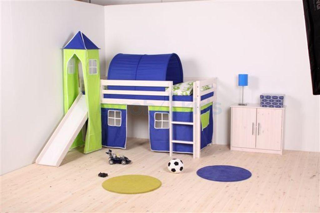 Houten Halfhoogslaper Met Glijbaan.Halfhoogslapers Met Glijbaan Bedje Voor Odin Childrens Bed Tents