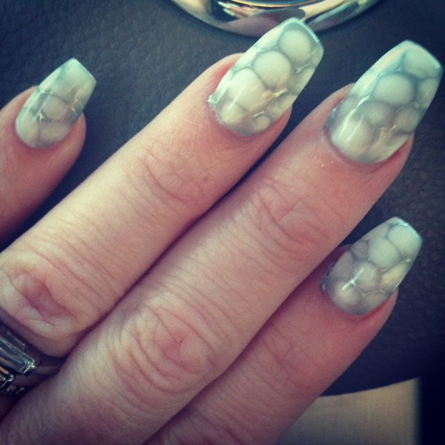 Hydro Gel Coffin Nails. Snakeskin nails. HydroGel.