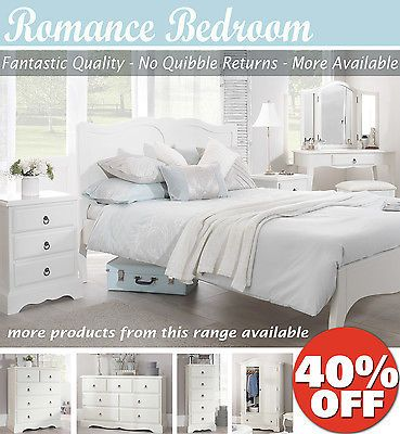 Romance shabby chic bedroom furniture, chest of drawers, bedside