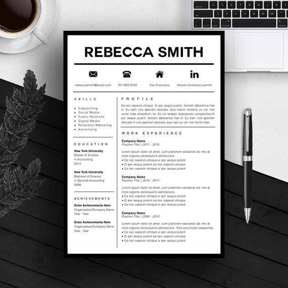 Resume Cv Template Professional Resume Template  Cv Template  Cover Letter  For Ms
