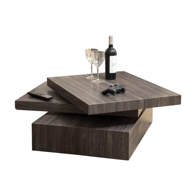 Modernesque Rectangular Rotating Coffee Table Contemporary