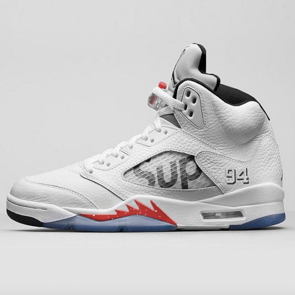 Supreme Air Jordan 5 White is the third colorway of the Supreme x Air Jordan  5 collaboration. Air Jordan 5 Supreme White version adds to the Black and  Camo