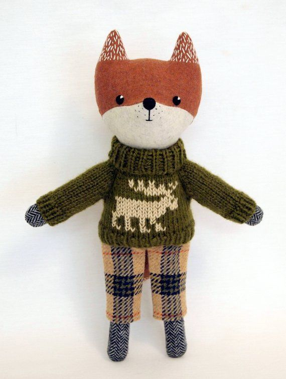 Red Fox Plush stuffed animal doll Woodland toy Wool embroidered doll Handmade dressed soft  toy Eco textille Artist fabric doll Unique gift  #animal #Artist #doll #Dressed #Eco #Embroidered #fabric #fox #Gift #Handmade #Plush #Red #soft #stuffed #textille #toy #unique #woodland #Wool