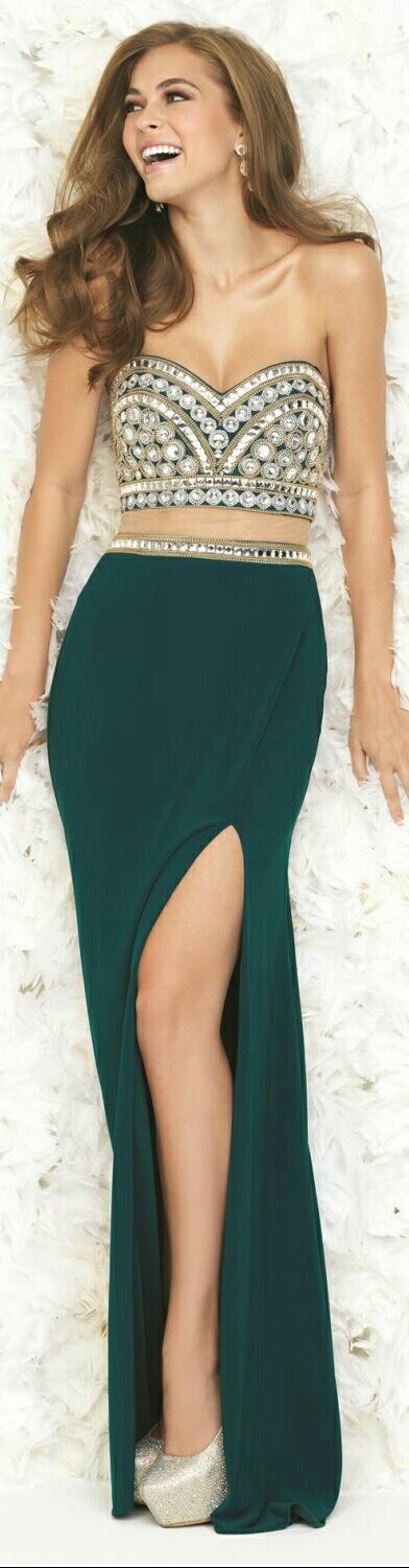 MADISON JAMES 2-Piece In Pine Green Jersey Mermaid-Style Skirt w. Slit on L. Side to Thigh and Beaded Waist Belt & Beaded Bustiere-Style Halter Top #151682015