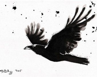 8x12in ink painting on canvas roll - Abstract raven on a ...  8x12in ink pain...
