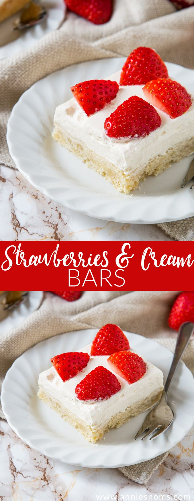 Buttery shortbread is layered with sweetened cream and fresh strawberries to create a flavour explosion in every bite of these Strawberries and Cream Bars!