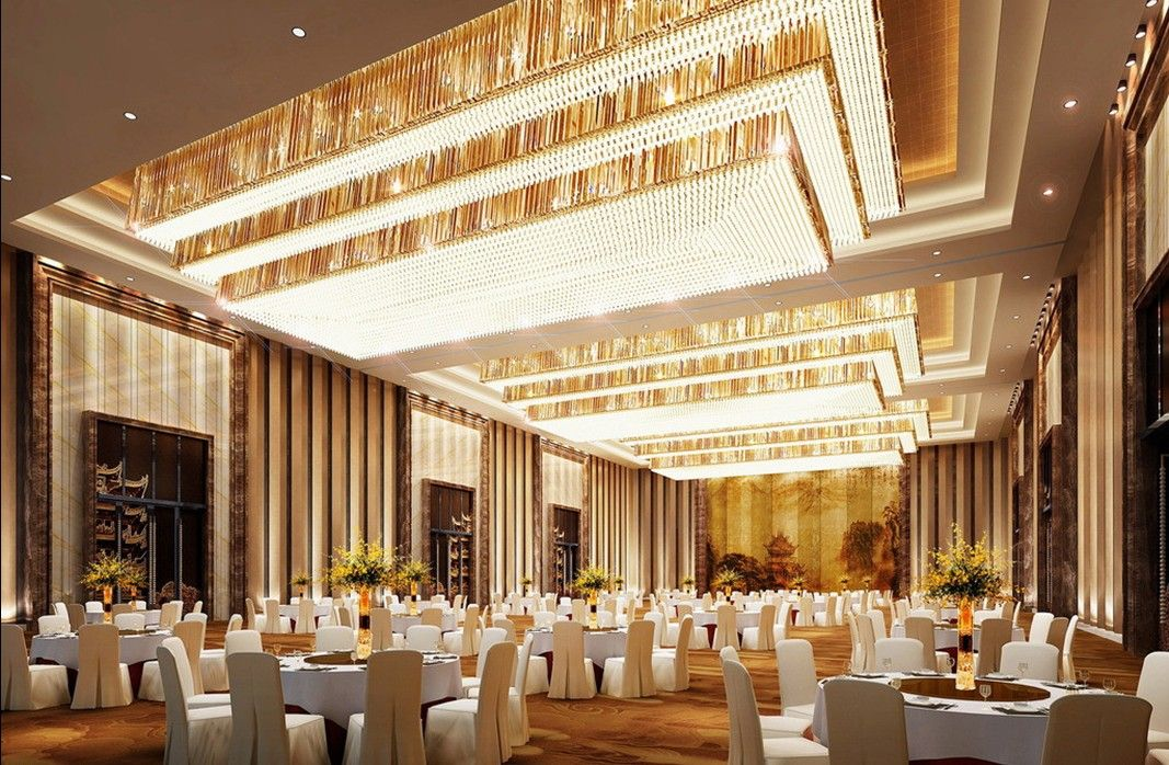 Luxurious banquet hall lighting and wall design rendering for Dining hall wall design