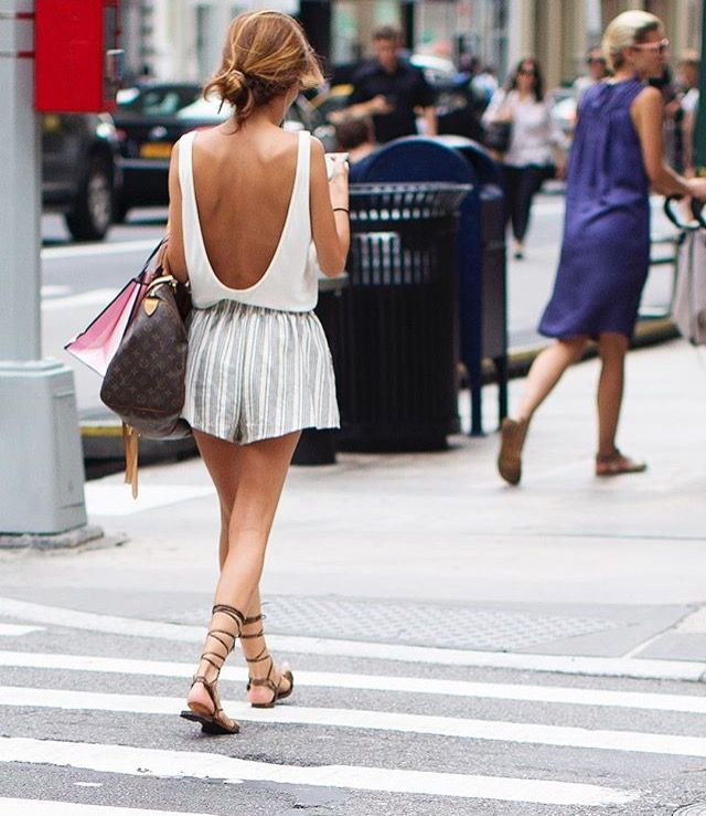 Chic Mix, low back white bodysuit with white and sliver vertical striped shorts and tan sandals