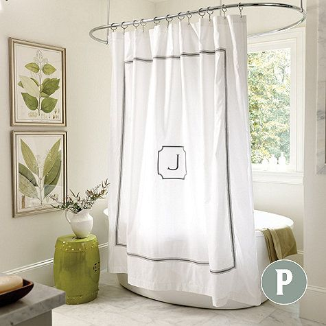 Amelie Embroidered Shower Curtain Personalized Shower Curtain