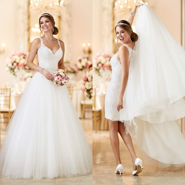Two Gowns In One 26 Fashion Forward Convertible Wedding Dresses You Ll Love Convertible Wedding Dresses Short Wedding Dress 2 Piece Wedding Dress