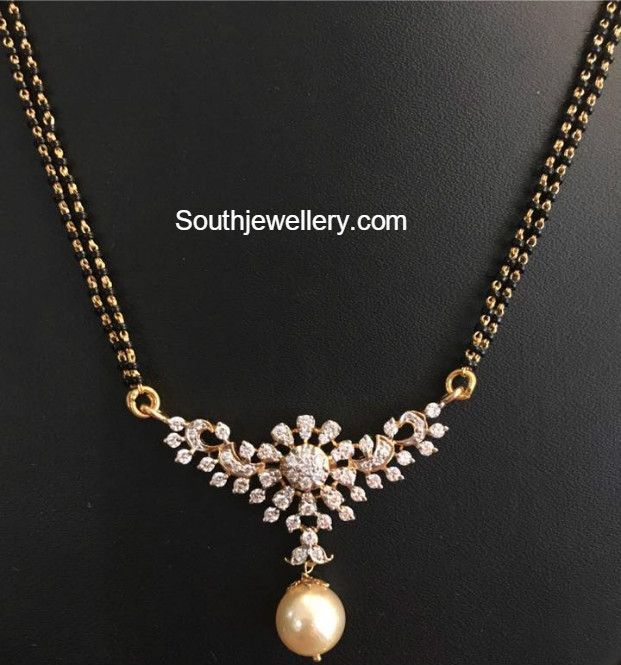 Black Beads Mangalsutra Chain Models With Diamond Pendants Jewelry