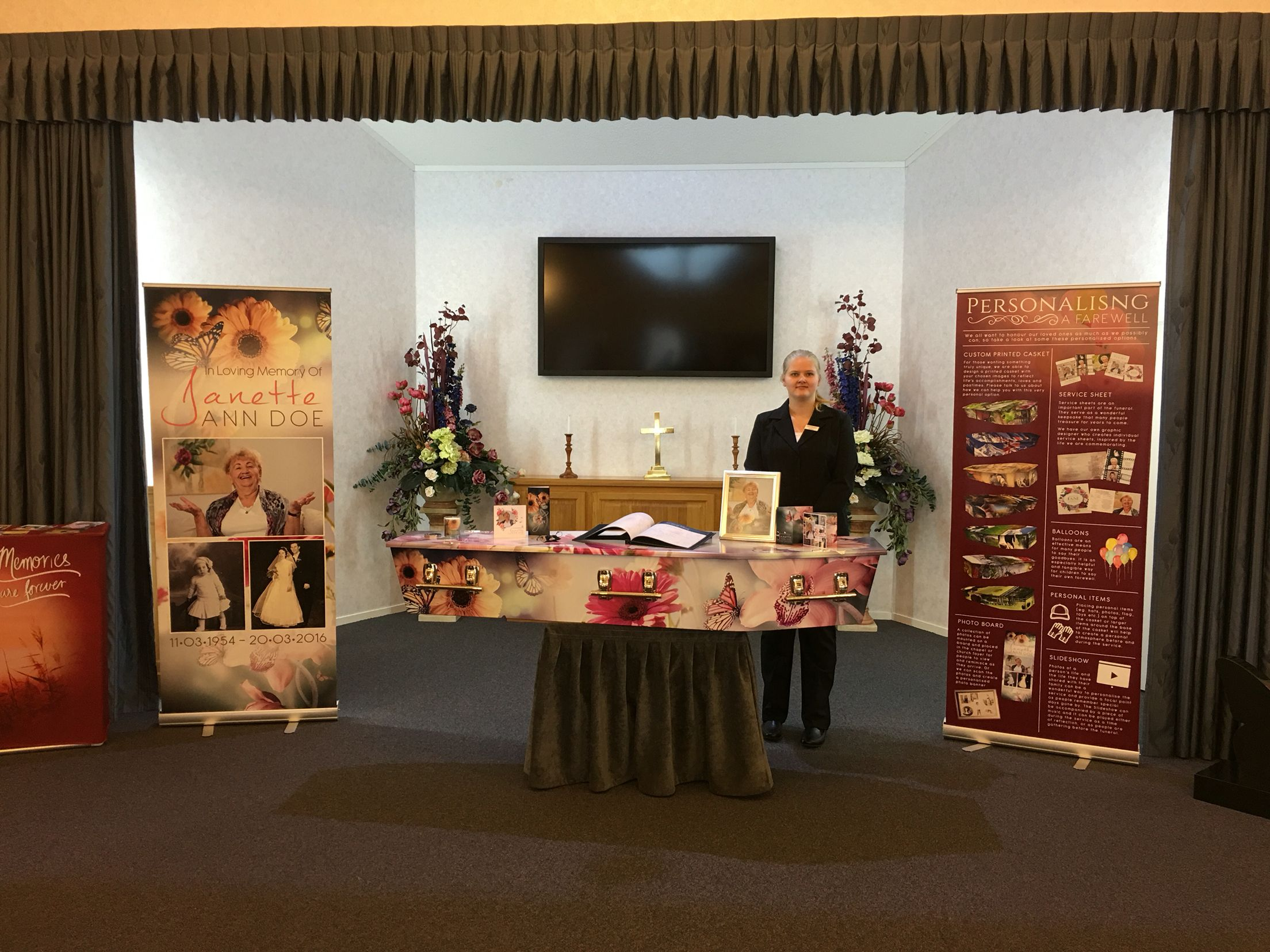abraham s funeral home open day display personalisation caskets