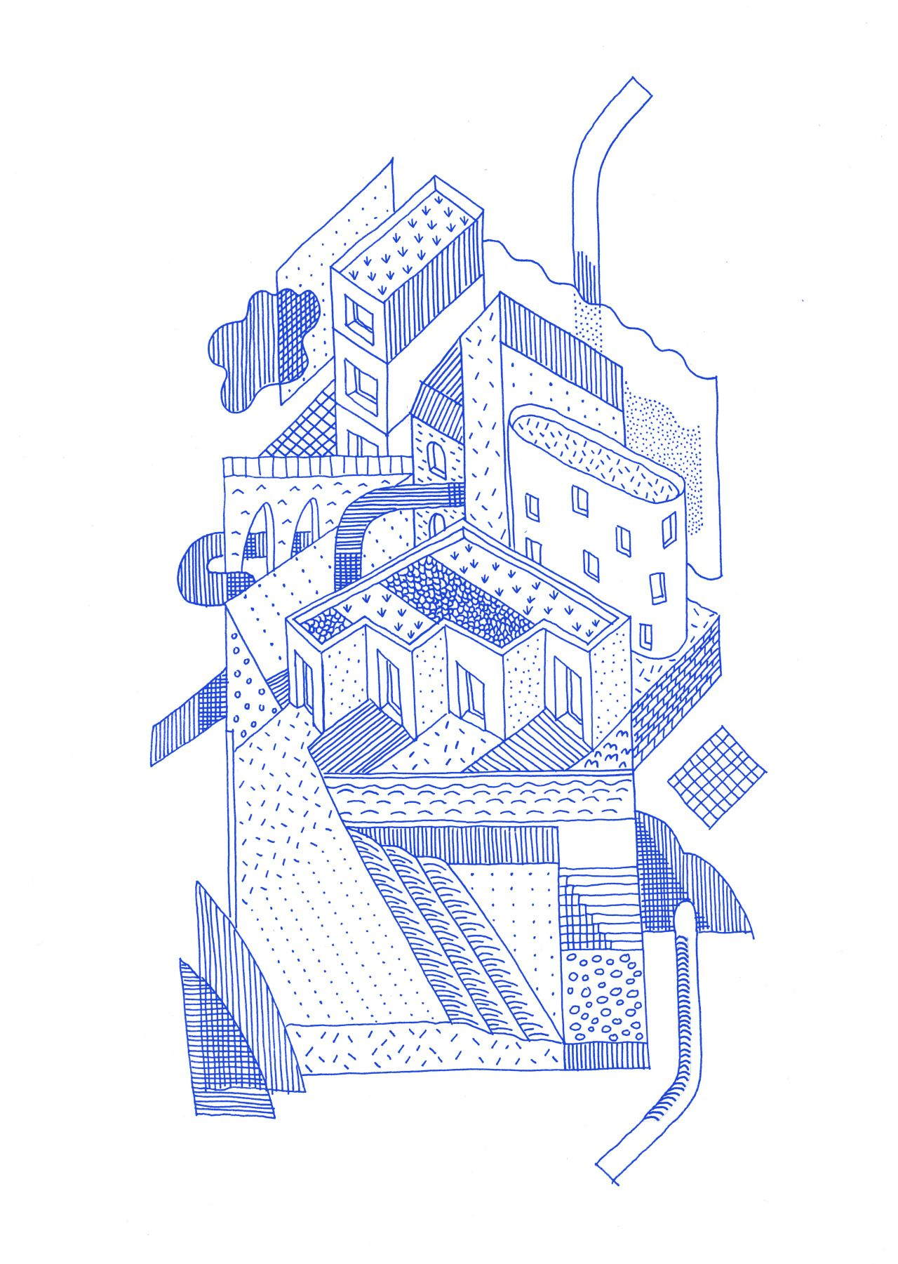 Drawing ARCHITECTURE | Thibaut Rassat, \'Stacked city\', 2015, ink ...