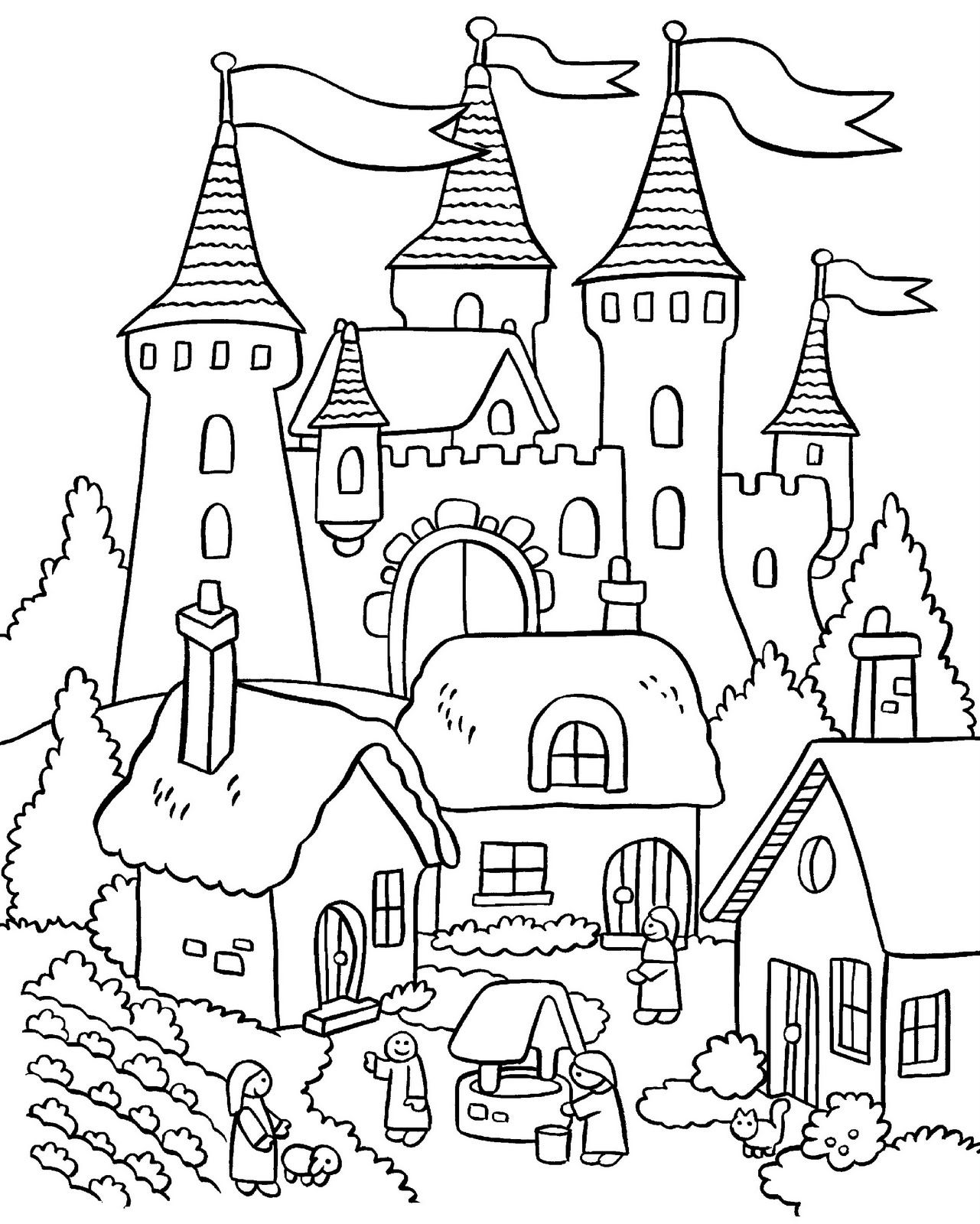 My Little House: Anna and the flower garden coloring pages  Elsa