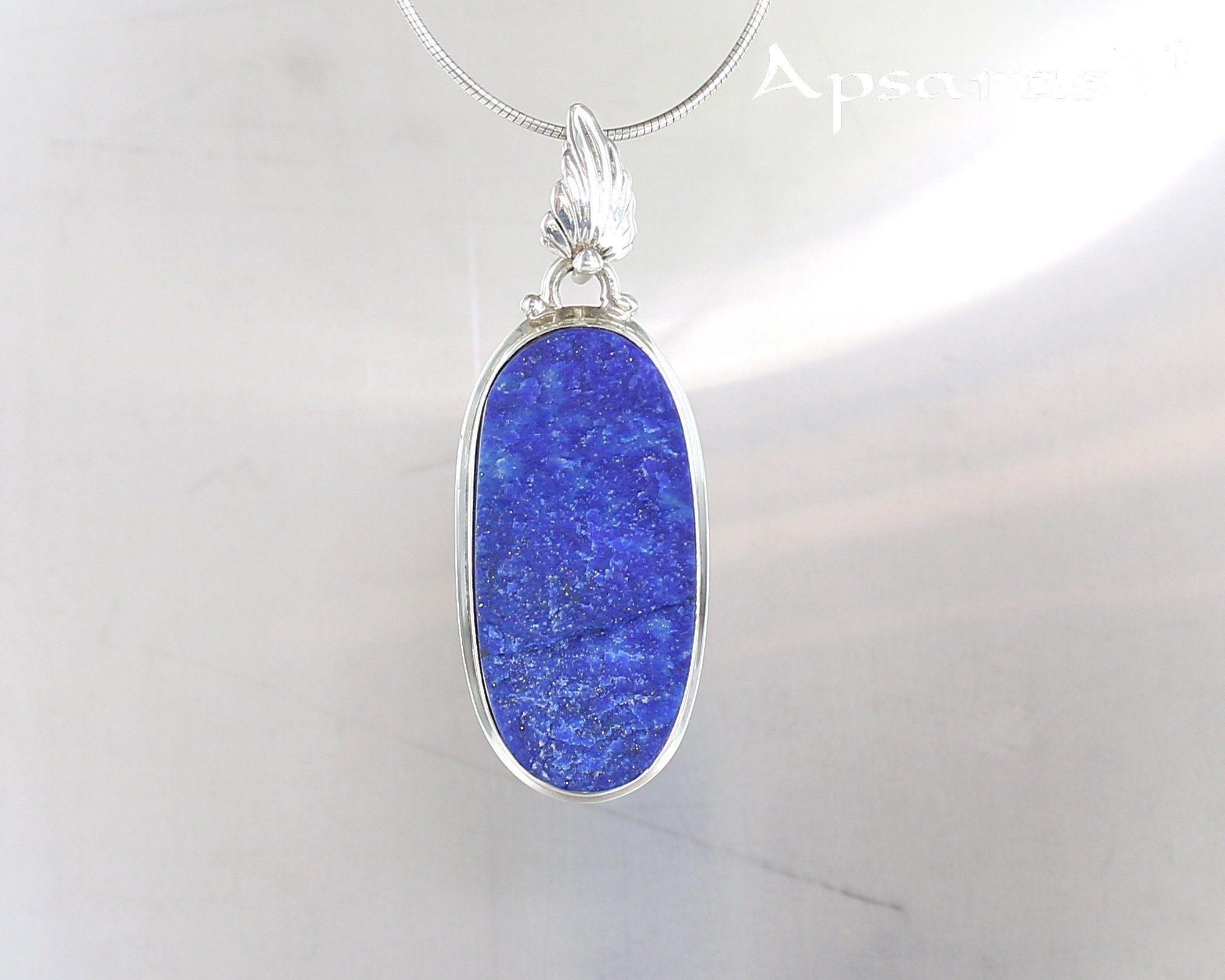 Argent Sterling 925 Ovale Bleu créé Pierre Collier Pendentif Charme