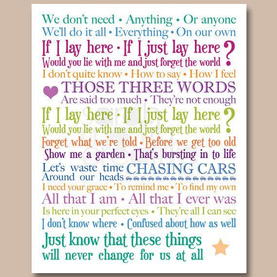 Snow patrol chasing cars 8x10 inch lyrics print wedding gift 8x10 inch lyrics print snow patrol chasing cars by smartcreative 1000 stopboris Image collections