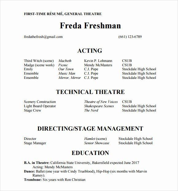 25 Acting Resume Template For Beginners In 2020 Acting
