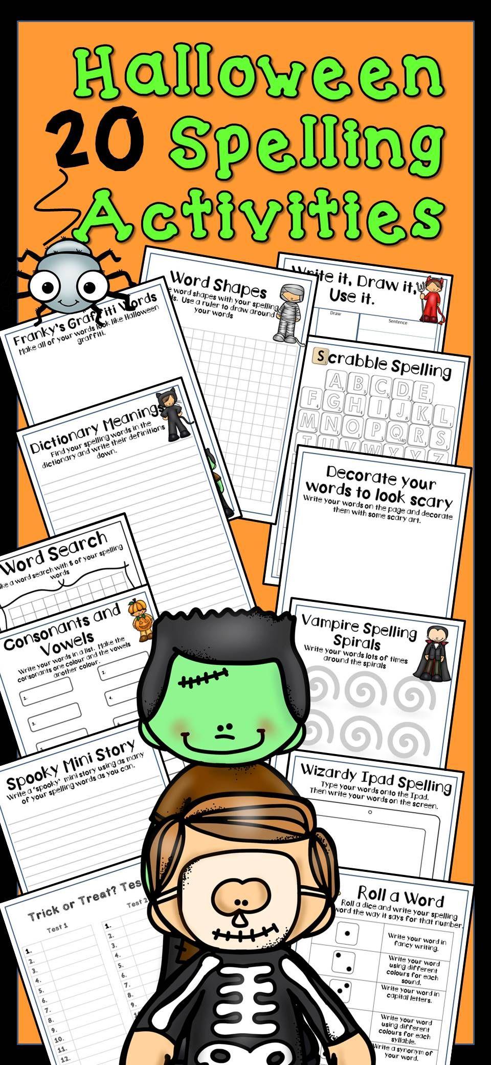 Halloween Spelling Activities (Any Word List) Spelling