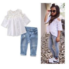 dbccbb686 2PCS Toddler Kids Baby Girl Lace T-shirt Tops + Denim Pants Jeans Clothes  Set