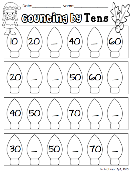 Worksheets Counting By Tens Worksheet counting by tens christmas and winter themed literacy math worksheets centers