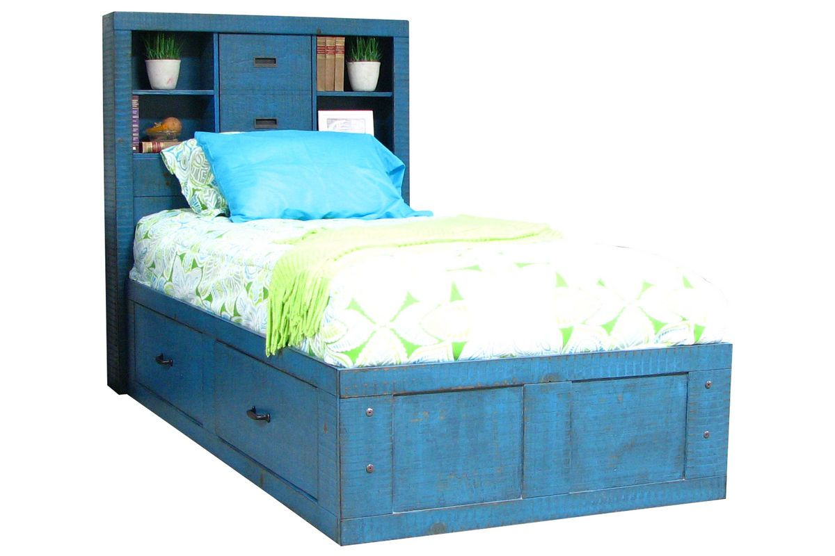 dimora bedroom set%0A Blue Twin Captains Bed from GardnerWhite Furniture  gw win