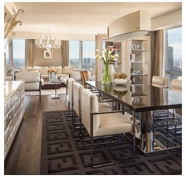 This Room Leaves Me Conflicted So Many Things About It Are Awesome The Fendi Logo Rug Is A Bit Obnoxious But I Kinda Luxury Dining Room Luxury Dining Home
