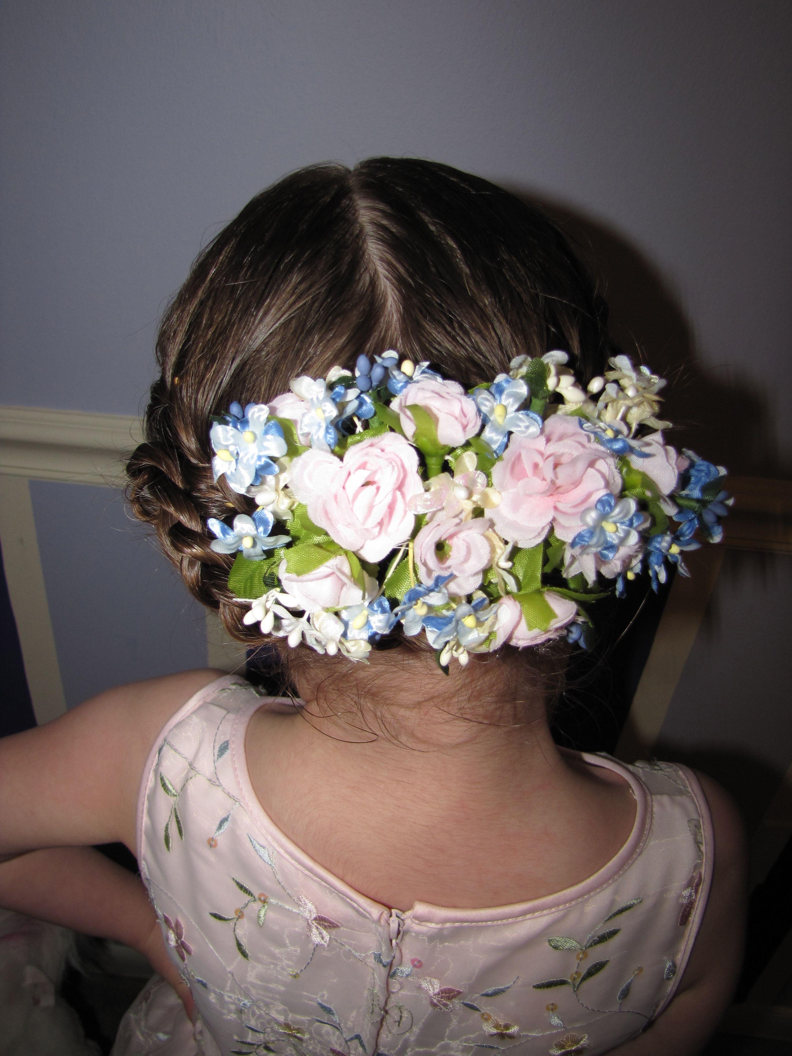 Floral hair clip in french braid  Irish dance hair ideas
