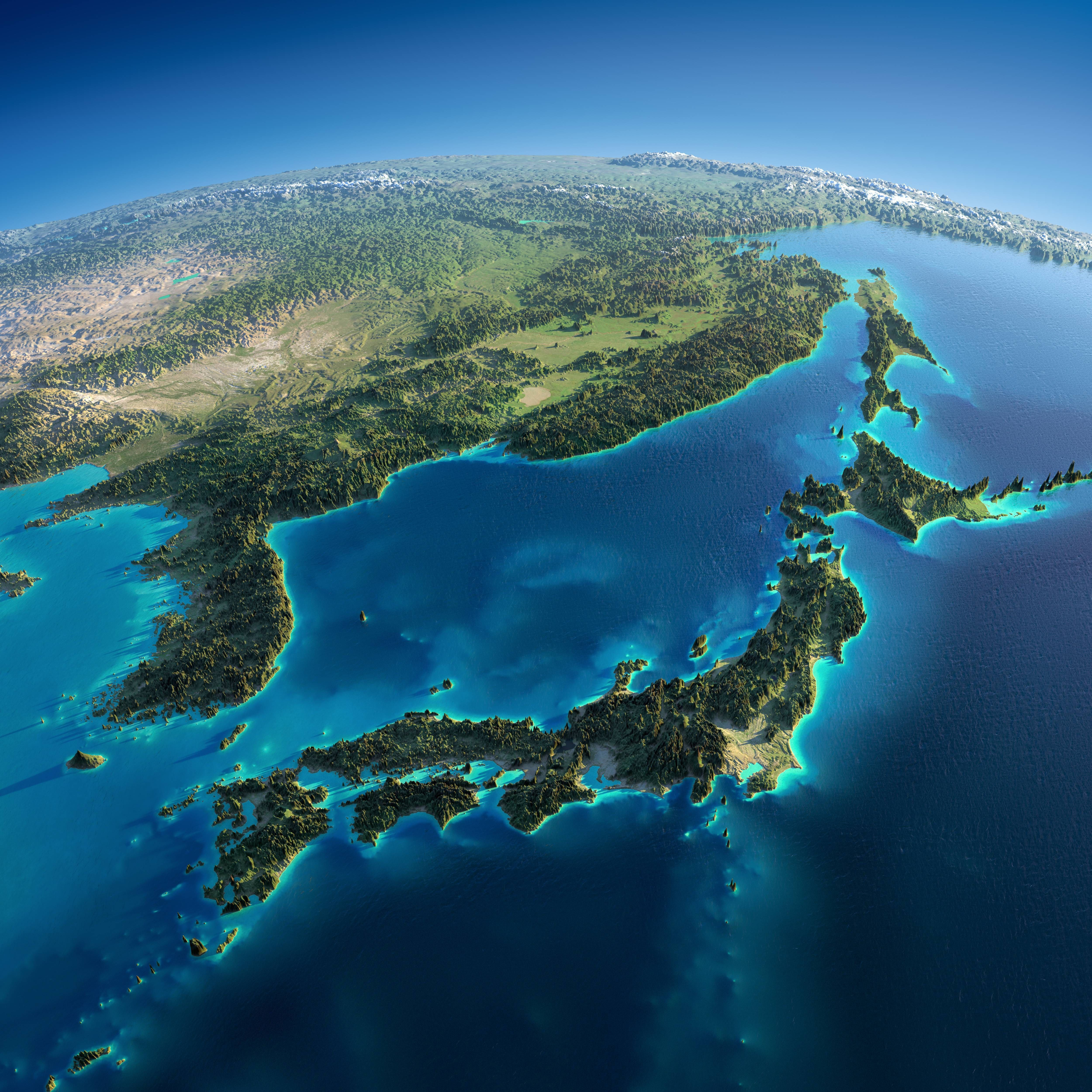 Exaggerated Relief Map Of Japan Korea Northern China And