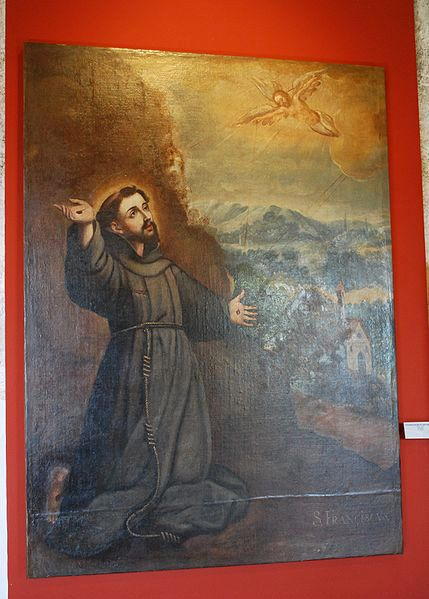 """The Stigmata of Francis of Assisi"""" from 18th century by unknown author at the Viceregal Museum of Zinacantepec, Mexico State"""
