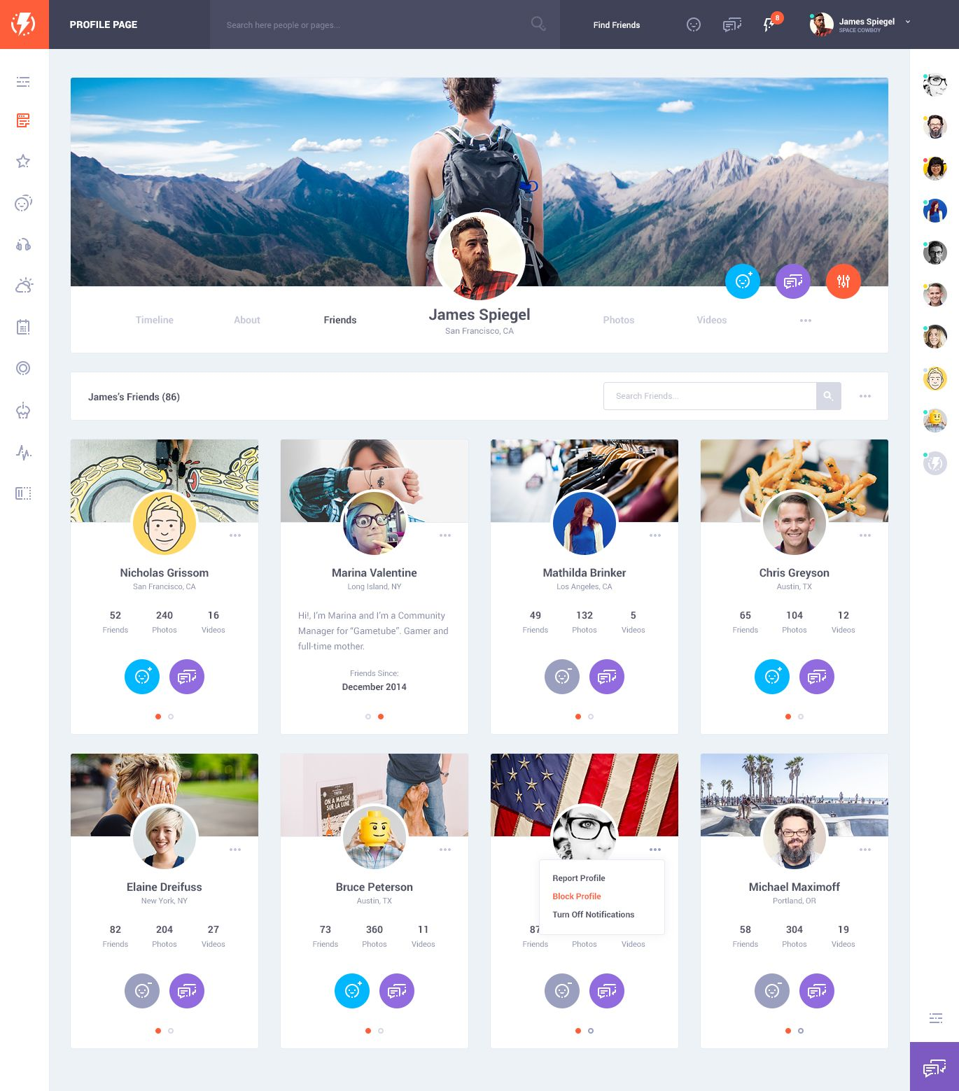 Olympus Social Network Psd Template V1 6 Unique Web Design Web Template Design Social Network Design