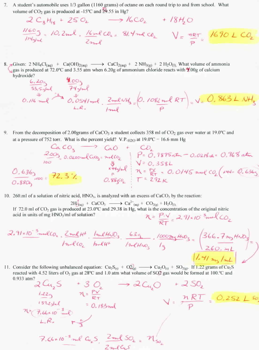 Gas Stoichiometry Worksheet Answer Key With Work