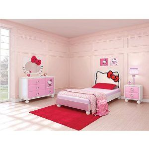 Hello Kitty Bedroom Set Bed Dresser Mirror Nightstand Hello